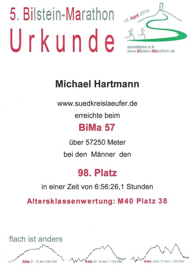 BiMa Ultra 2015 - Urkunde