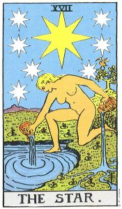 The Star from the Rider Waite Tarot deck