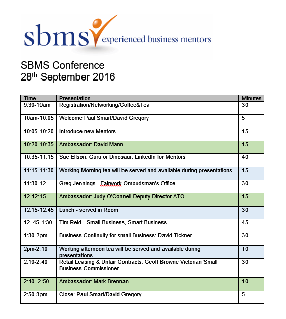 Small Business Mentoring Service 2016 Conference Program
