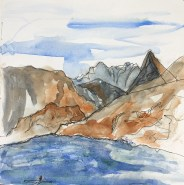 Saddlebag Lake, 10,000 feet, watercolor 8 x 8 inches