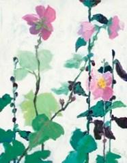 Marblehead Mix: Pink single hollyhocks, acrylic on board, 20 x 16 inches