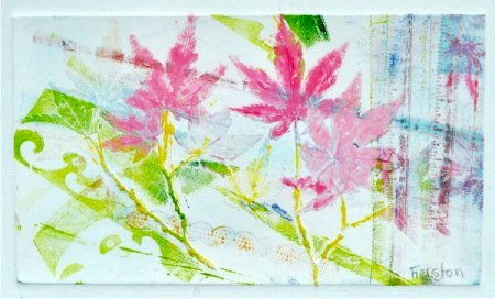 Japanese Maple, 12 x 14 inches, monotype ghost, 2 of 2