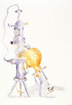 Old Friends, two electron microscopes, watercolor on Yupo, 30 x 22 inches