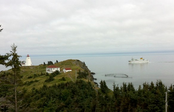 Grand Manan V passing herring weir and Swallowtail Lighthouse.