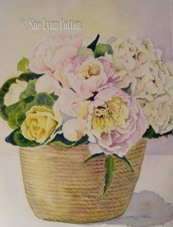Basket of Peonies $99