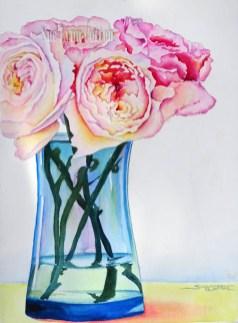 Peonies in a Blue Vase $99