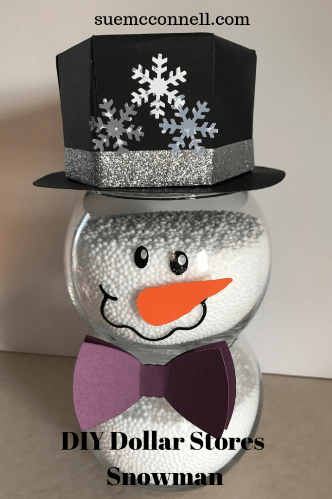 DIY Dollar Store Fishbowl Snowman that is cute, easy and simple to make.