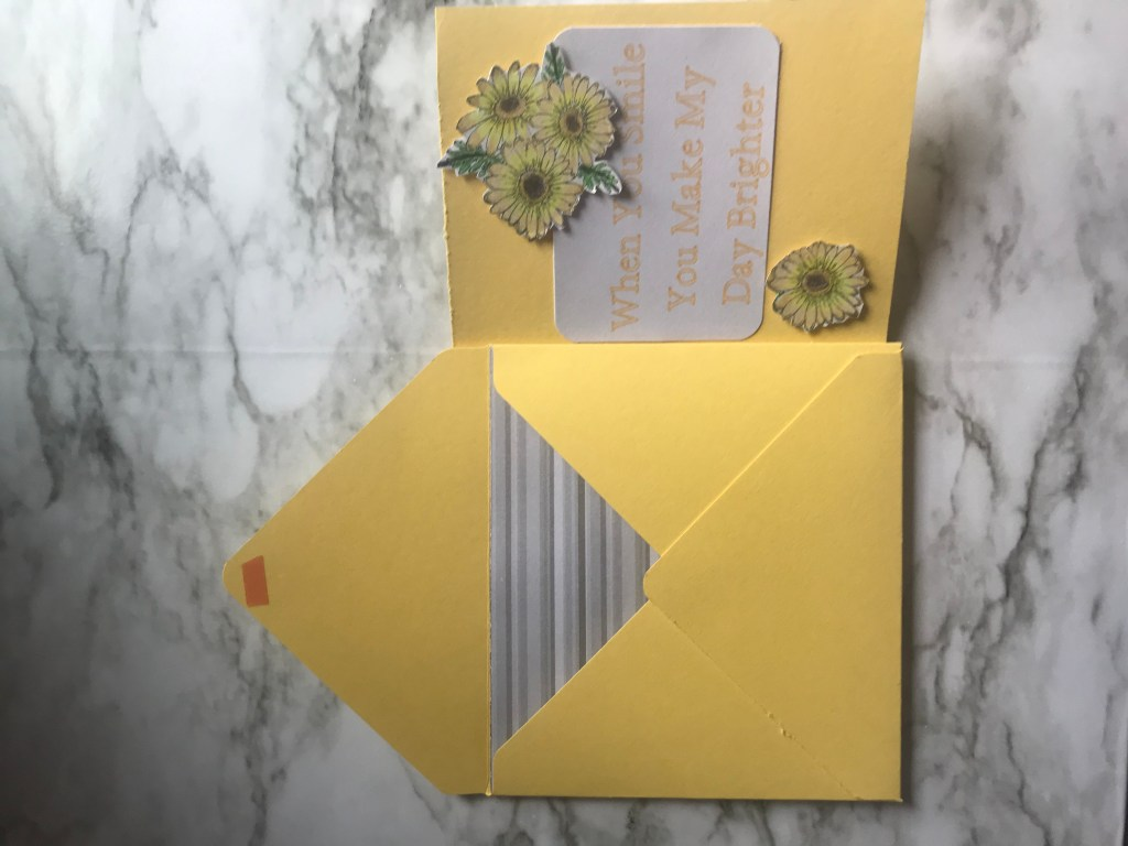 With the card comes a matching envelope.