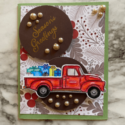 Make this fun and festive Christmas Card with the vintage truck stamp and die.
