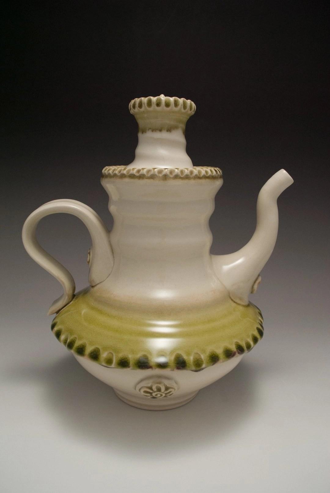 unique teapot green and white