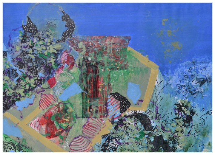 'Shared Garden' (72 x 53cm, acrylic and mixed media on paper, 2015) SOLD