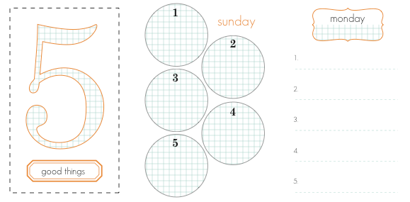 Sample pages, where you can write down 'five good things' each day.