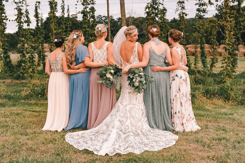 Different-bridesmaids-dresses-suessmoments-bhldn-wedding-gown