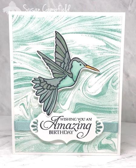 Stampin' Up! Humming Along Hummingbird Dies Marbled - 4