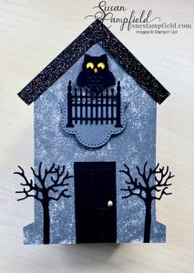 Create a spooky cute Halloween haunted house from the Stampin' Up! Tombstone Treat Boxes!