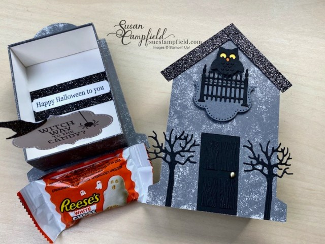 Craft a spooky cute Haunted House treat box created for Halloween with the Stampin' Up! Tombstone Treat Boxes and the Frightfully Cute Bundle.