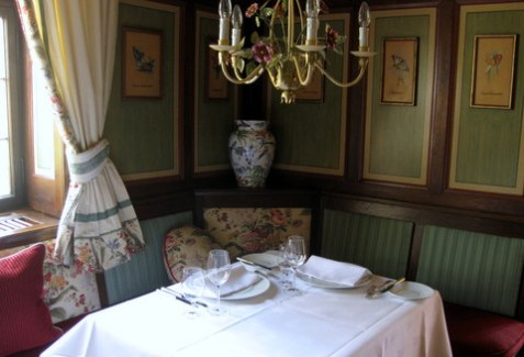 A cosy corner of the Schwarzer Adler dining room