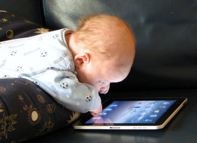 baby with ipad