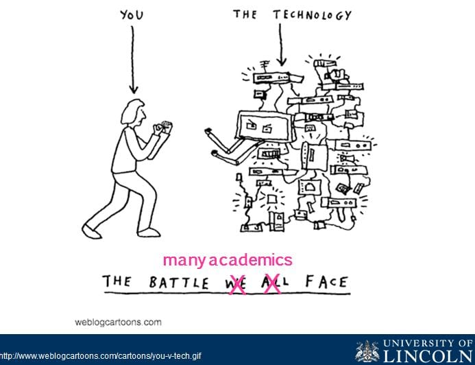 cartoon showing an individual fighting with a wall of technology