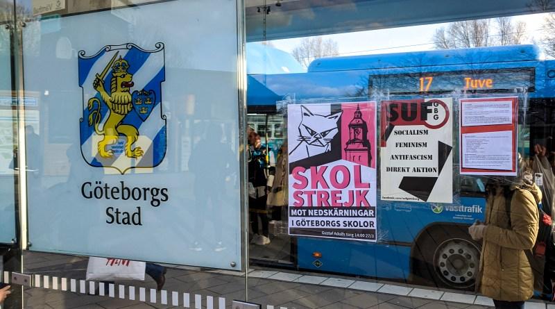 Affischering och flygbladsutdelning inför skolstrejken