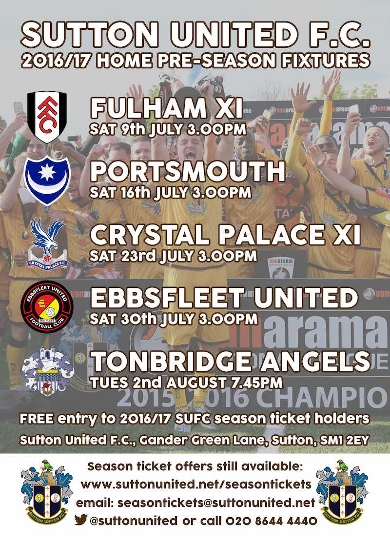 Sutton United Pre Season Home Fixtures