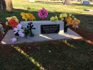Child abuse murder victim Arianna Stout's mother Jessica Ortega Scheurn's grave