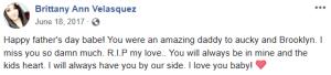 Brittany Velasquez Facebook post after Christopher Miranda's death (parents of Lorenzo and Brooklyn Velasquez)