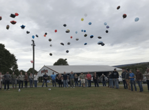 Balloon release in honor of Conner Snyder's 9th birthday