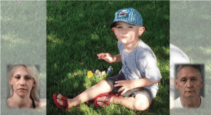 Murdered Illinois 5-year-old boy AJ Freund playing with cars with inset mug shots of parents JoAnn Cunningham and Andrew Freund Sr