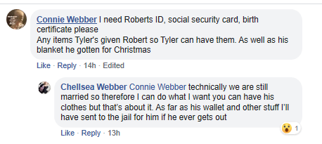 Connie and Chellsea Webber comments on Facebook