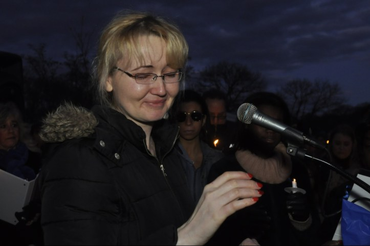 Justyna Zubka-Valva at vigil for Thomas