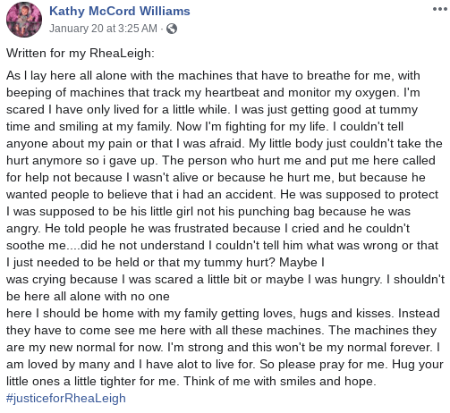 Kathy McCord Williams post about RheaLeigh Webber.