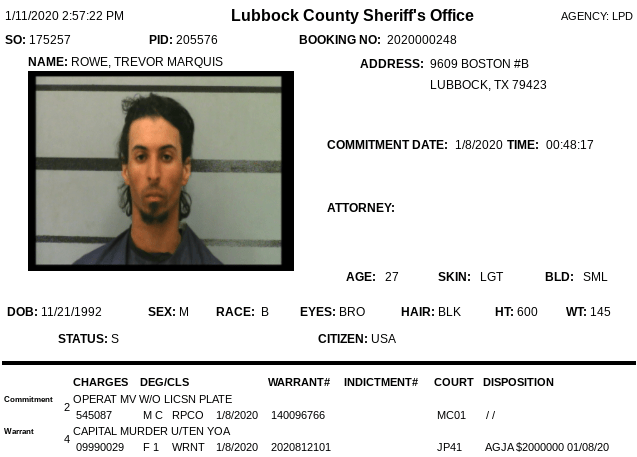 Trevor Marquis Rowe's booking information sheet from Lubbock County Jail