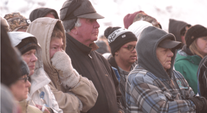 Mourners at a vigil for murdered Montana 12-year-old James Alex Hurley.