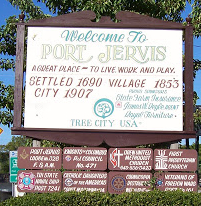 Welcome to Port Jervis New York sign