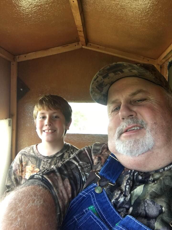 Logan Cline and grandfather Preston Holland in 2018