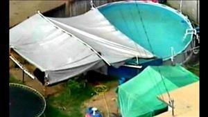 Overhead view of the backyard tent and pool situation. (R.I.P. Ame Deal Facebook page)