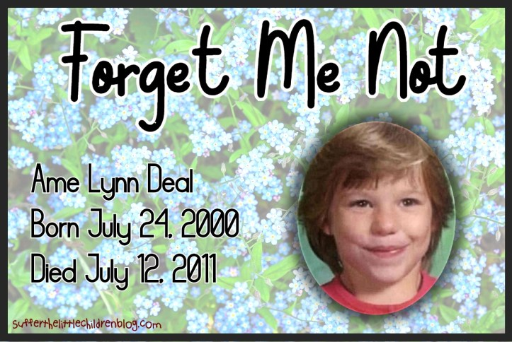 Suffer the Little Children Blog - Forget Me Not - Ame Lynn Deal