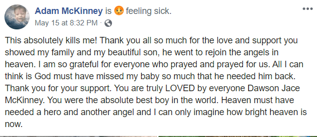 Adam McKinney post about son Dawson dying