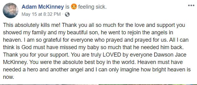 Adam McKinney post about son Dawson dying