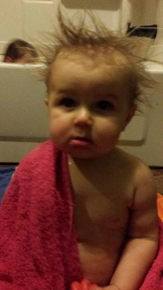 Kendall Lynn Doss with spiky, wild hair after a bath
