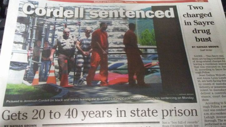 Jeremiah Alan Cordell on the front page of the newspaper after being sentenced in the murder of Kendall Lynn Doss