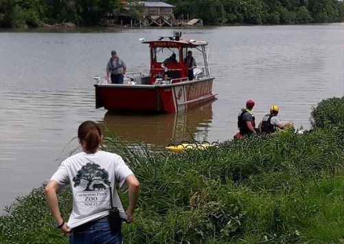 Authorities during a water search for Waco's Frankie Gonzales