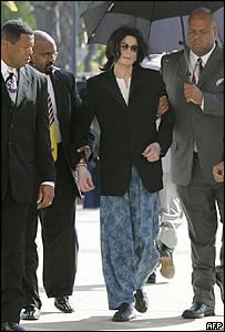 Michael Jackson headed to court in pajama pants with an umbrella