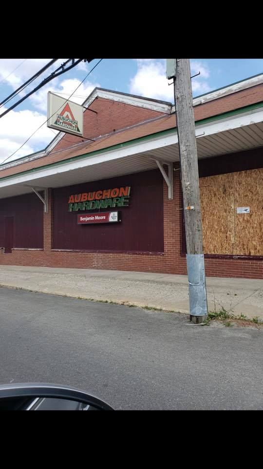 Aubuchon Hardware in Gouverneur boarded up
