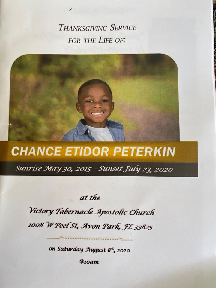 Chance Peterkin funeral program