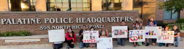 Justice for James Biel protest outside Palatine Police Headquarters