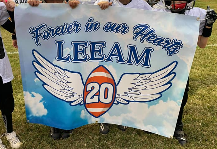 Raiders football banner for Leeam Pritcher