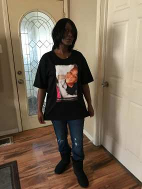 Shay Caston wearing a #Justice4Jaheem t-shirt