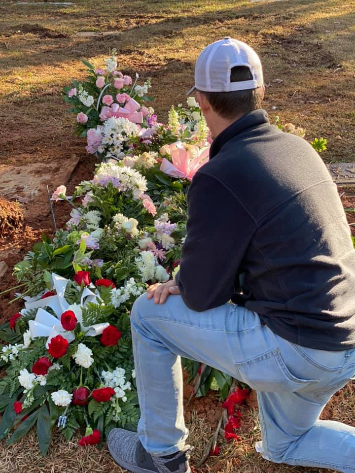 Cameron Gantt at Fallon Fridley's grave
